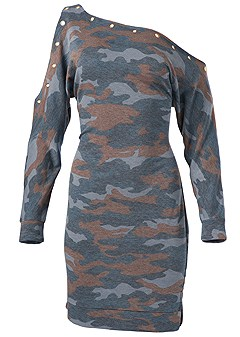 plus size camo lounge dress