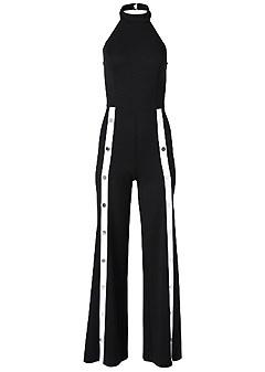plus size stripe front snap jumpsuit