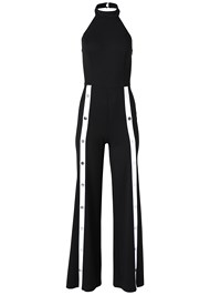 Alternate View Stripe Front Snap Jumpsuit