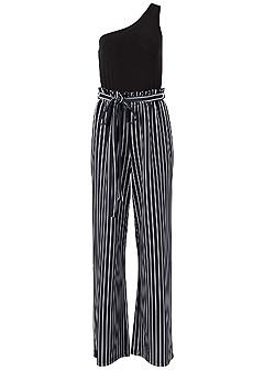 plus size paperbag stripe jumpsuit