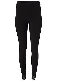 plus size lace trim leggings