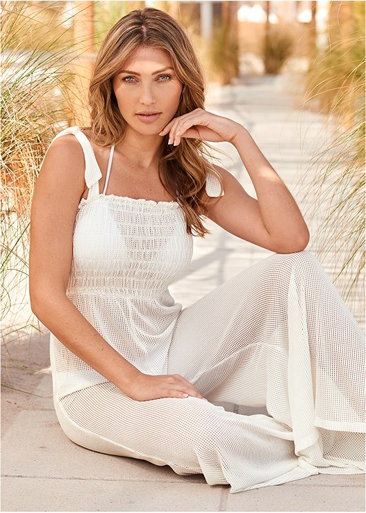 SMOCKED COVER-UP JUMPSUIT,TRIANGLE BIKINI TOP,SCOOP FRONT BIKINI BOTTOM