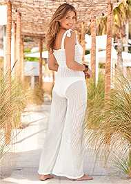 Cropped back view Smocked Cover-Up Jumpsuit