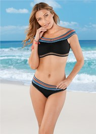 Front View Colorful Banded Bottom