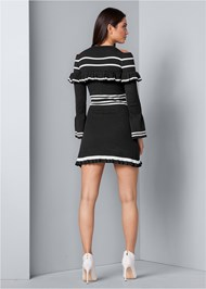 Back View Stripe Print Sweater Dress