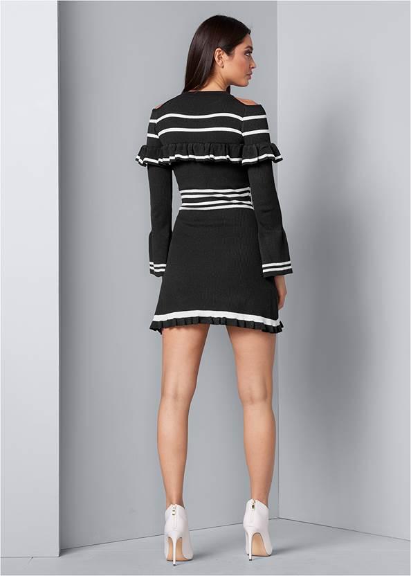 Back View Stripe Print Sweater Dress
