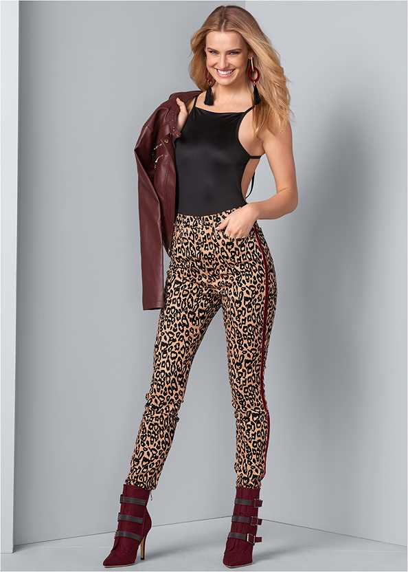 High Rise Leopard Pants,Buckle Detail Booties,High Heel Strappy Sandals