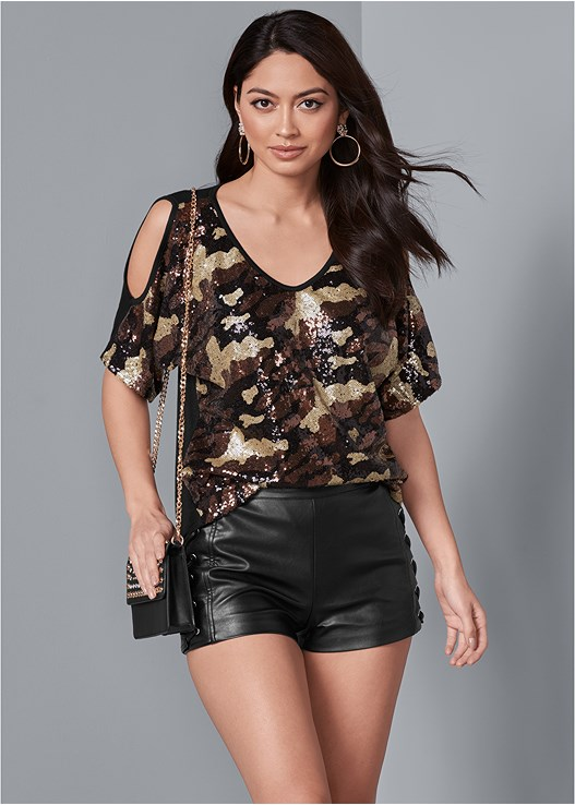 CAMO SEQUIN TOP,FAUX LEATHER LACE UP SHORTS,DISTRESSED BUM LIFTER,UNLINED LACE BRA,CUT OUT DETAIL BOOTS,STUD DETAIL HANDBAG,MULTI COLOR BANGLE SET