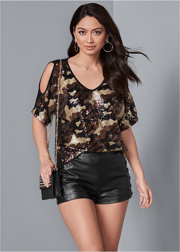 Camo Sequin Top,Faux Leather Lace Up Shorts,Ripped Skinny Jeans,Tiger Detail Earrings