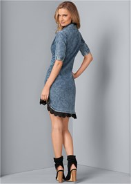 Back View Denim Lace Dress