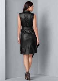 Back View Faux Leather Wrap Dress