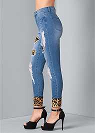 Back View Leopard Cuffed Jeans