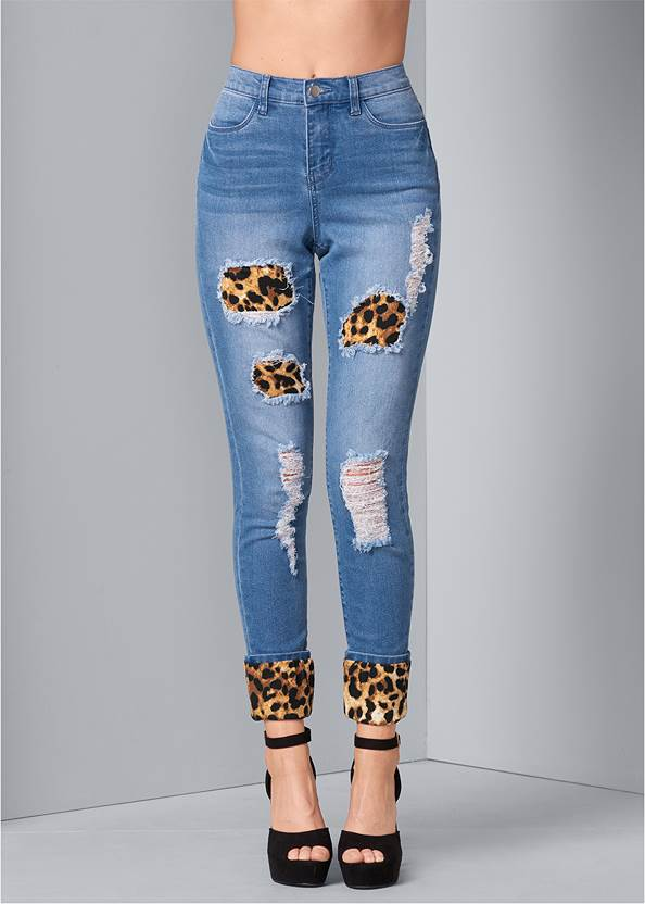 Alternate View Leopard Cuffed Jeans