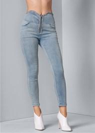 Front View Zipper High Waist Jeans