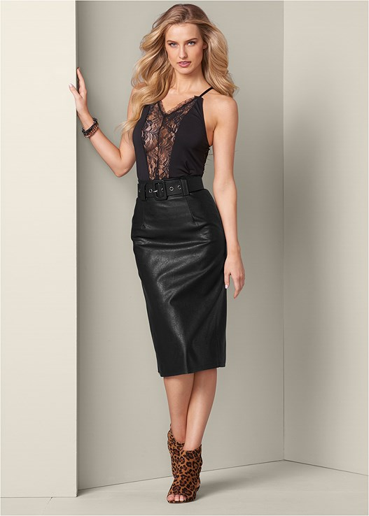 BELTED FAUX LEATHER SKIRT,LACE DETAIL TANK,HIGH WAIST LACE UP PANTIES,WRAP BRACELET