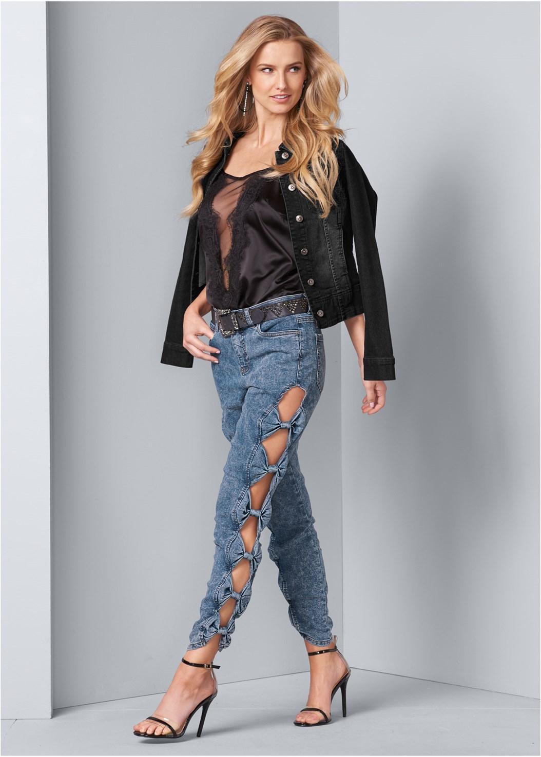 Acid Wash Jeans,Lace Detail Tank,Jean Jacket,Faux Leather Lace Up Jacket,Quilted Belt Bag,Lucite Detail Heels,Bow Detail Print Heels