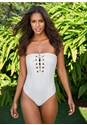 Front view Grommet Lace Up One-Piece