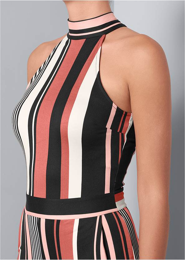 Alternate View Stripe High Neck Jumpsuit