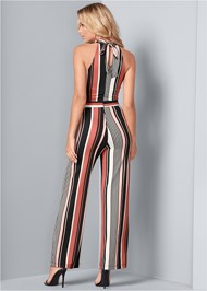 Back View Stripe High Neck Jumpsuit