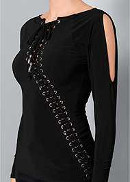 Alternate View Lace Up Cold Shoulder Top