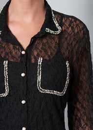 Alternate View Tweed Detail Lace Top