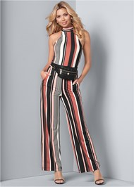 Front View Stripe High Neck Jumpsuit