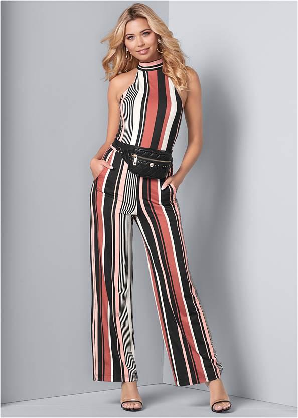 Front View Stripe High Neck Jumpsuit
