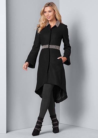Embellished High Low Coat