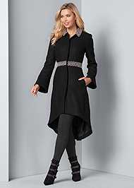 Full front view Embellished High Low Coat