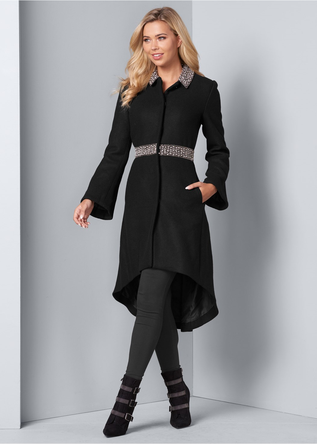 Embellished High Low Coat,Mid Rise Slimming Stretch Jeggings