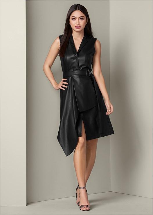 Faux Leather Wrap Dress in Black   VENUS