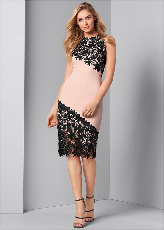 LACE DETAIL DRESS,CROSS STRAP PUMPS,MINI CROSSBODY,DEMI CUP LACE PUSH UP BRA