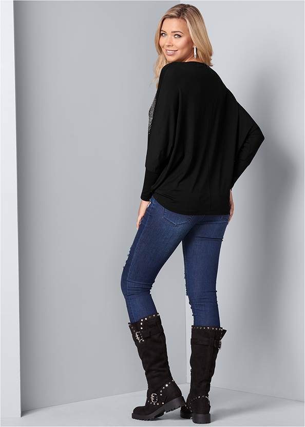 Back View Embellished Heart Tee