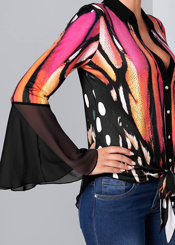 Alternate View Embellished Tie Front Print Top