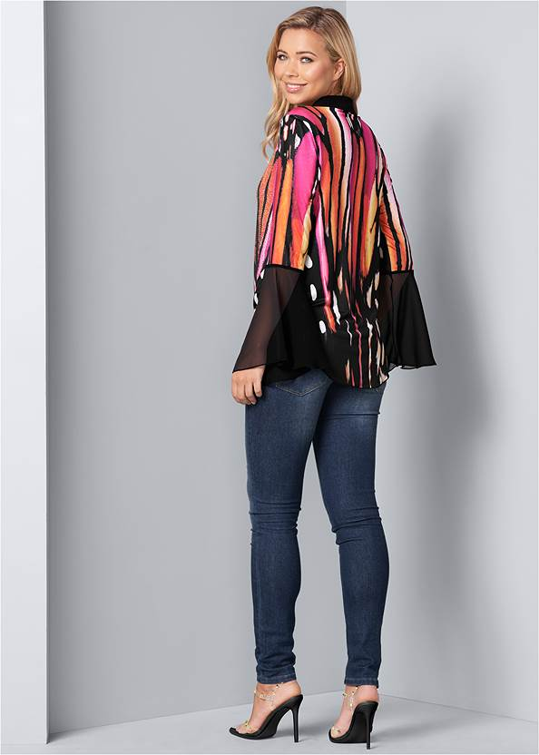 Back View Embellished Tie Front Print Top