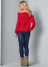 Back View Cozy Off Shoulder Sweater