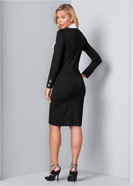 Back View Twofer Trim Detail Dress