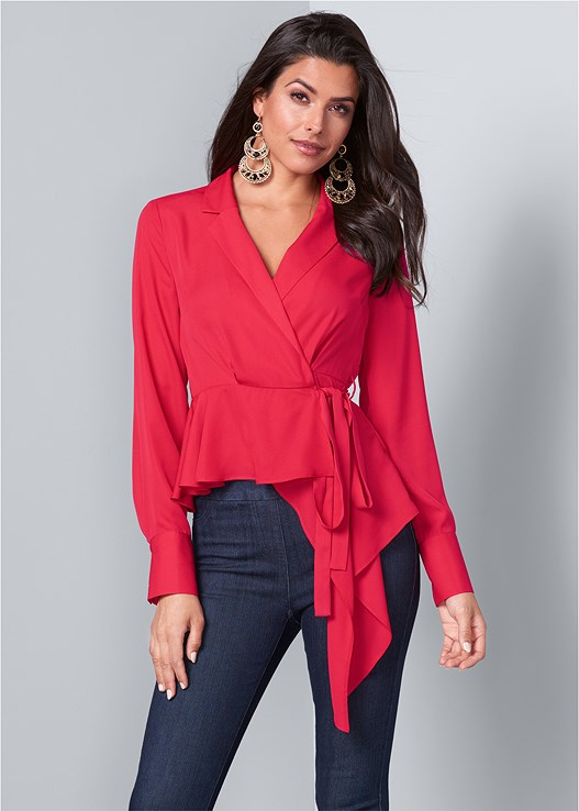 ASYMMETRICAL WRAP TOP,SLIMMING STRETCH JEGGINGS,BOW DETAIL PRINT HEELS,MEDALLION DROP EARRINGS