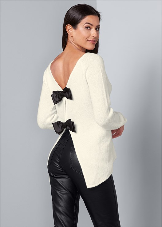 BOW DETAIL SWEATER,FAUX LEATHER PANTS
