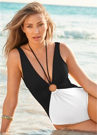 Cropped front view Deep V Ring One-Piece