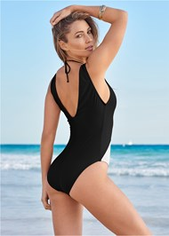 Back View Deep V Ring One-Piece