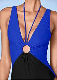 Detail front view Deep V Ring One-Piece