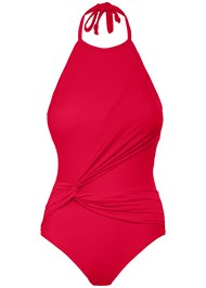 Alternate View High Neck Draped One-Piece