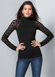 Front View Seamless Mock Neck Top