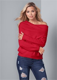 Front View Cozy Off Shoulder Sweater