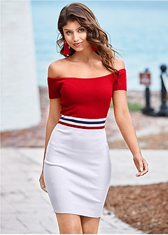 0e7f92c8e30 color block ribbed dress