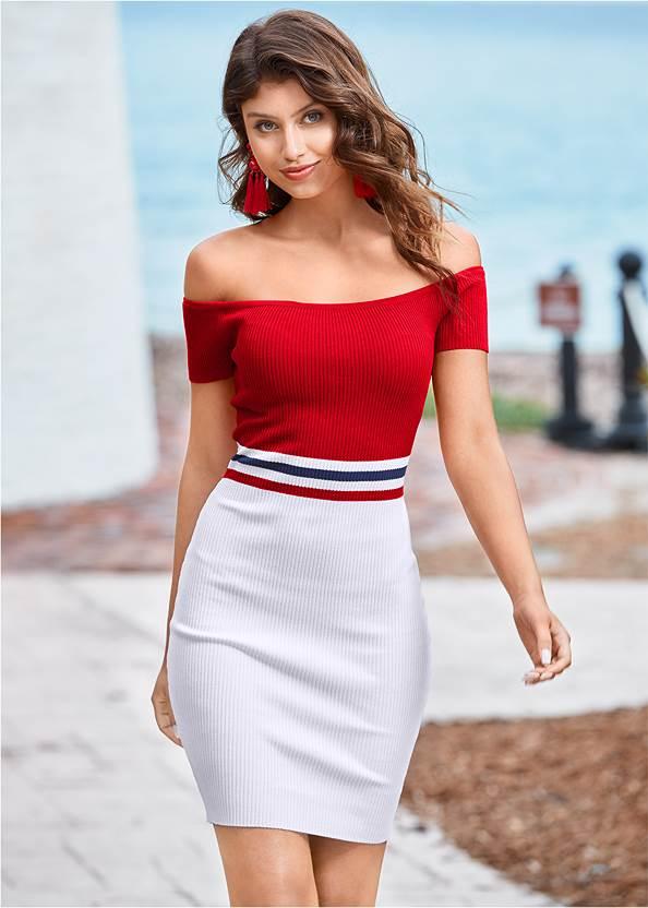 Color Block Ribbed Dress,Tassel Earrings