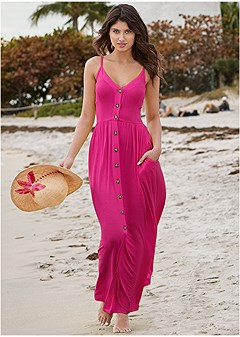 button detail maxi dress