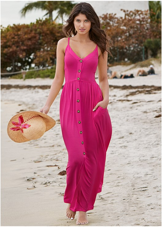 BUTTON DETAIL MAXI DRESS,EMBELLISHED STRAPPY SANDALS,WOVEN FLOPPY HAT