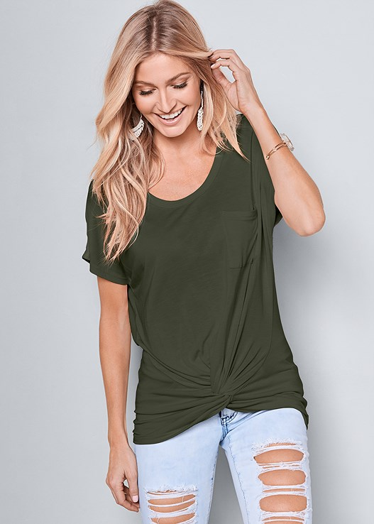 TWISTED KNOT DETAIL TEE,TWO TONED JEANS